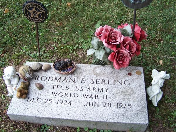 Grave Marker- Rod Serling, writer/host (Twilight Zone, Night Gallery). His funeral took place on July 2. Serling is buried at the Lake View Cemetery, Interlaken, New York.