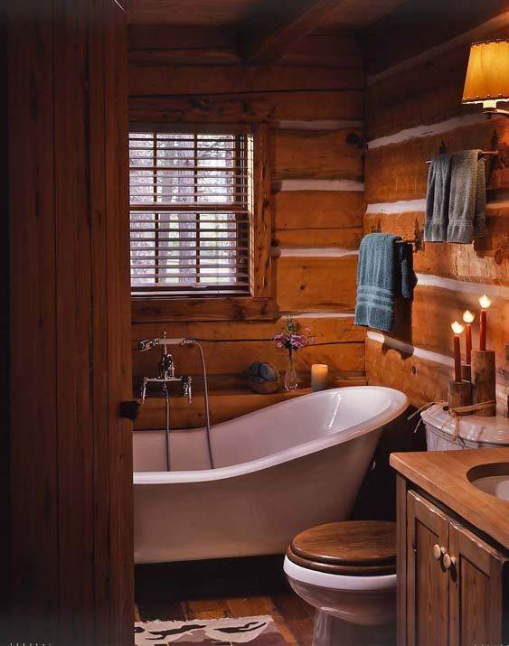 jack hannas cozy log cabin in montana log cabin bathroomsrustic bathroomssmall - Bathroom Ideas Log Homes