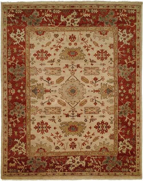 Usak Ivory / Rust 6 x 9 Area Rug Buy Online Amira Carpets