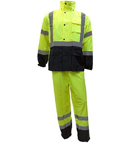 RK Safety Class 3 Rain suit, Jacket, Pants High Visibility Reflective Black Bottom RW-CLA3-LM11 (Extra Large, Lime) #Safety #Class #Rain #suit, #Jacket, #Pants #High #Visibility #Reflective #Black #Bottom #(Extra #Large, #Lime)