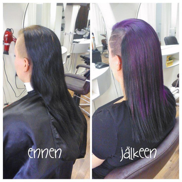 Before and after. Beautiful long violet-black hair by Emmi /Parturi-kampaamo Salon Maria Seinäjoki