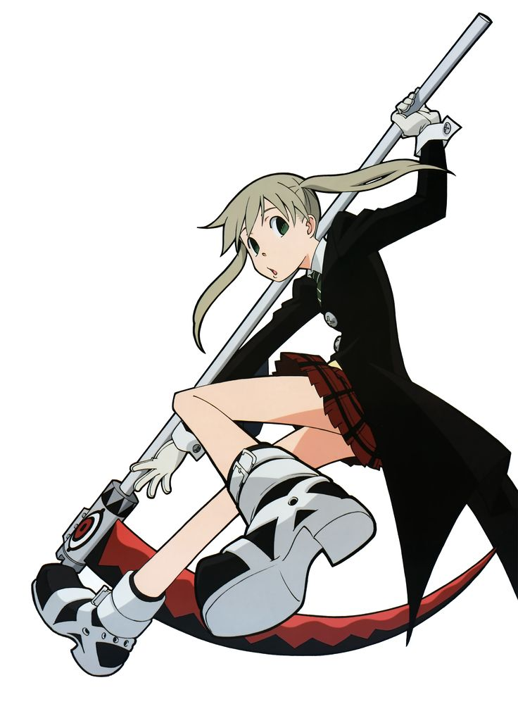 "Maka Albarn (マカ・アルバーン, Maka Arubān) is a Scythe-Meister (鎌職人 Kama Shokunin in Japanese) and the daughter of Spirit Albarn and his ex-wife. After witnessing her father cheating, she was inspired by her mother and she became determined to follow in her footsteps and became a Meister. Maka partnered up with the ""Demon Scythe"", Soul Eater, in an attempt to create a Death Weapon more powerful then her father. She is currently a Two-Star Meister, a Death Weapon Meister, and formerly a member of..."