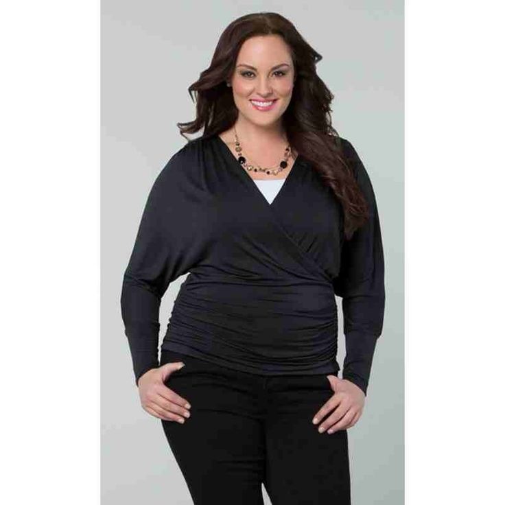 PRE-ORDER - Femme Faux Wrap Top (Gunmetal Grey) $82.00 http://www.curvyclothing.com.au/index.php?route=product/product&path=95_103&product_id=8210