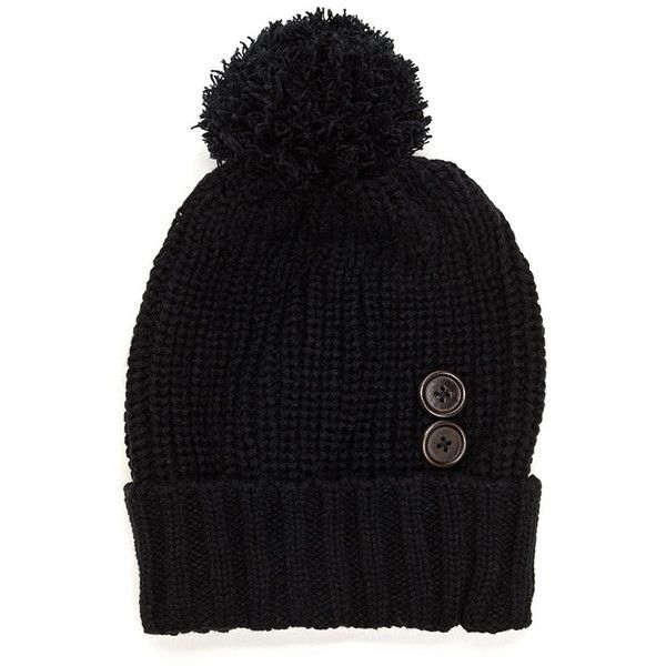 Mane Event Double Button Chunky Beanie ($8.50) ❤ liked on Polyvore featuring accessories, hats, black, pom beanie, brimmed beanie hats, pompom hat, chunky beanie and pom pom beanie