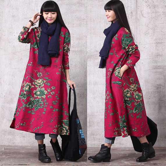 Casual Loose Fitting Long Sleeved Cotton Long Dress Blouse- Women Maxi dress