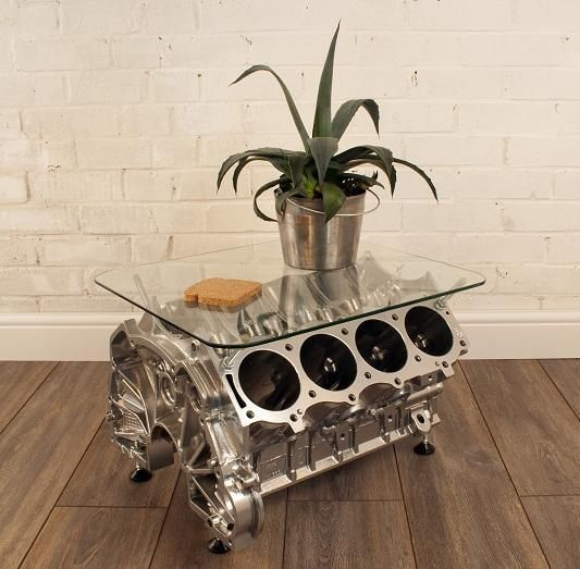 V8 Engine Glass Table: Four Cylinder, 200 Hp (at Least) Coffee Table!