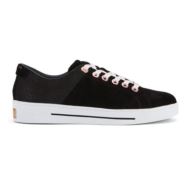 Ted Baker Women's Riwven Suede Cup-Sole Trainers ($135) ❤ liked on Polyvore featuring shoes, sneakers, black, black shoes, striped sneakers, kohl shoes, metallic gold sneakers and black low top sneakers