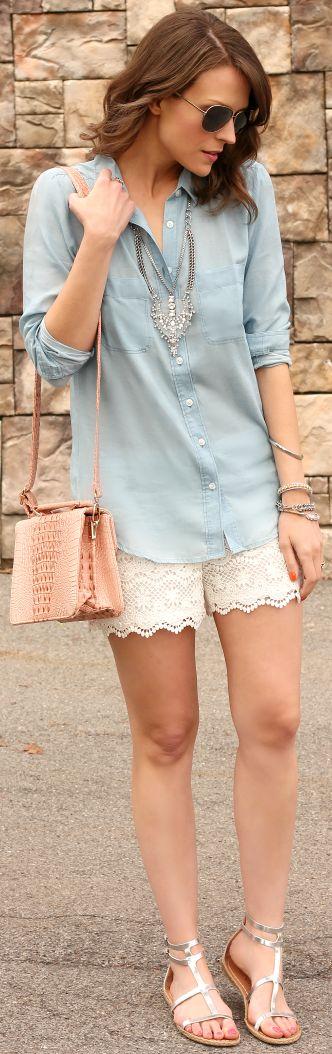 Joe Fresh White Crochet Scalloped Hem Shorts by Penny Pincher Fashion