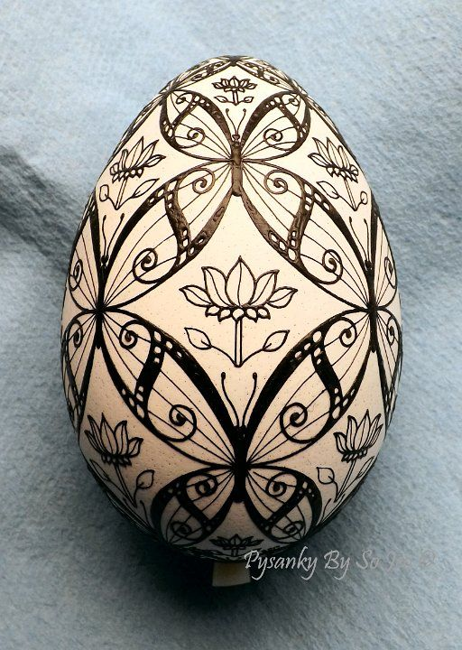 WIP - Butterflies Turkey Egg Pysanka Pysanky Ukrainian Easter Egg Batik Art by So Jeo - on Ebay, sold, just like the design