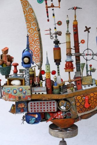 Gerard Collas, boat, assemblages, sculpture