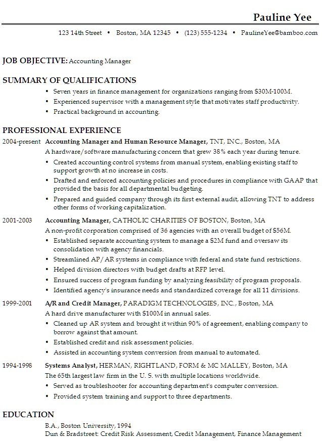 Accounting Resume Objective Examples  BesikEightyCo