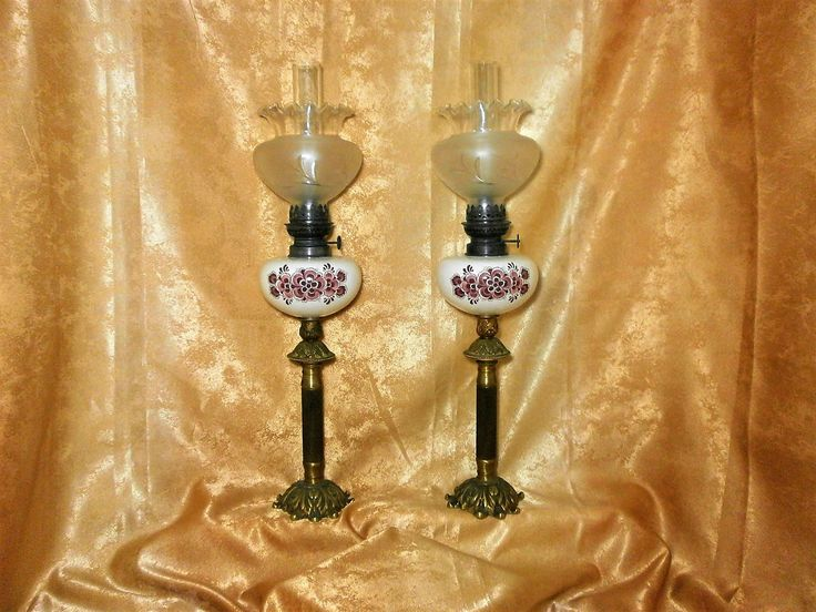 Matching set of two petrol oil salon lamps, solid bronze, crystal, hand painted ceramic, vintage by AntiqueBoutiqueZ on Etsy