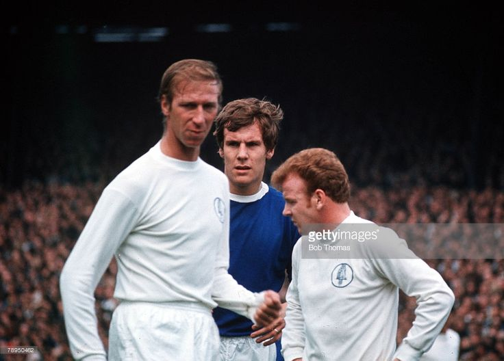 22nd August 1970. Jack Charlton and Billy Bremner are watched by Everton centre forward Joe Royle, at Elland Road,