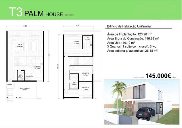 T3 PALM HOUSE  - Deixe a realidade sobrepor-se à imaginação... PALM HOUSE para si e para a sua família, desde €145. 000 euros (+iva). Contacte 968 542 583