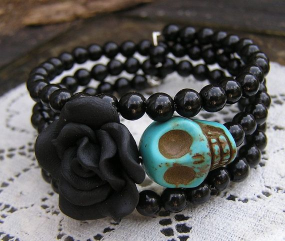 Day of the Dead Bracelet Wrap Around Memory Wire Black Flower Turquoise Skull…