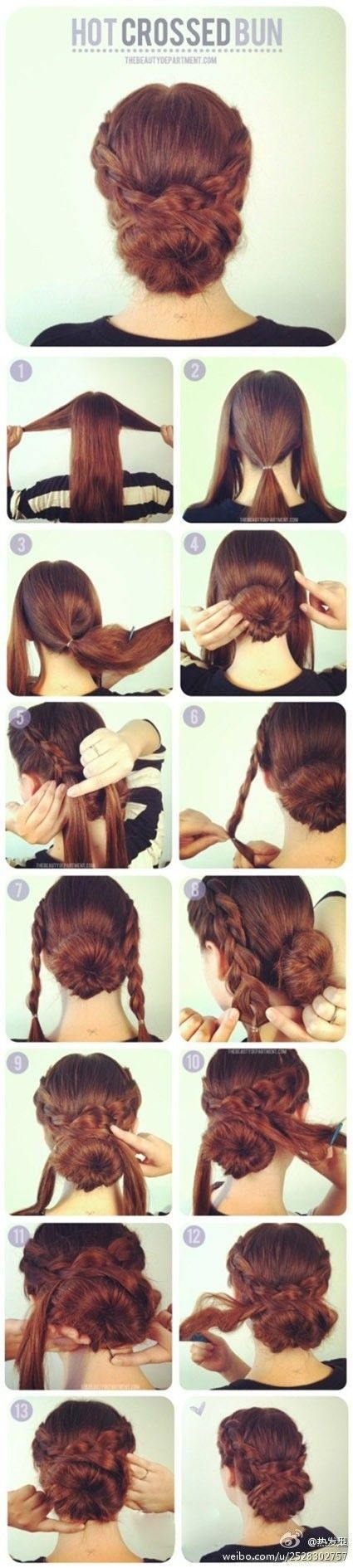 How to make a hot crossed bun. You could do this with a sock bun to make it fuller if you have fine or thin hair.