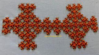 Art  Needlework: Kutch work / Interlaced Herringbone 2
