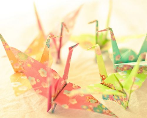 #Origami #cranes - coordinated color pallette