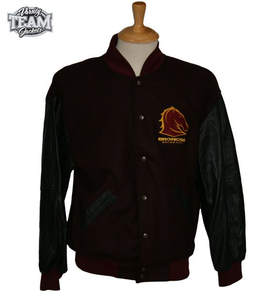 Brisbane Broncos NRL wool body and leather sleeves embroidered varsity jacket front by Team Varsity Jackets. www.facebook.com/TeamVarsityJackets  www.teamvarsityjackets.com.au