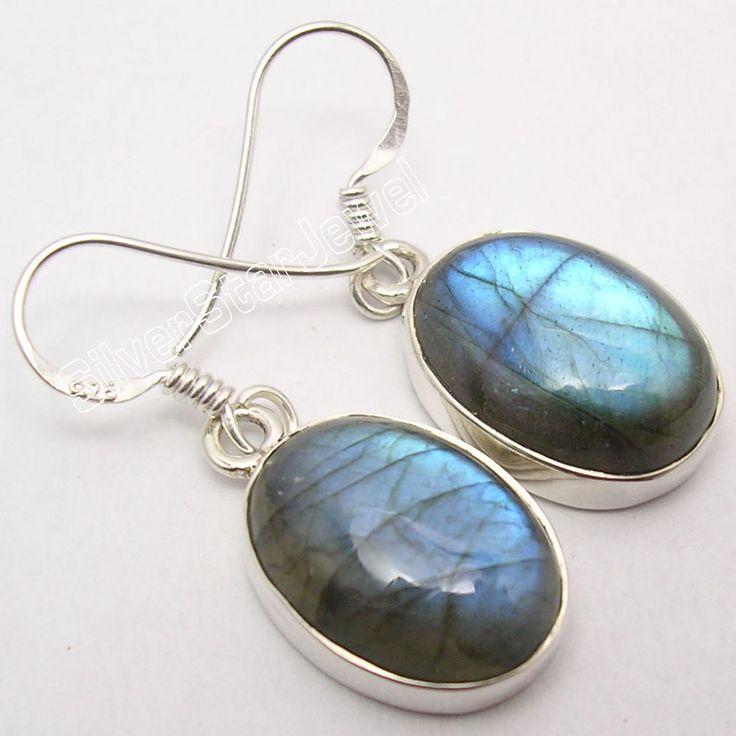 925 Silver Real LABRADORITE Big Dangle Earrings 3.3CM #Dangle
