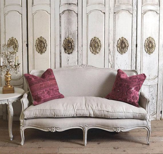 Vintage Petite Antique French Sofa