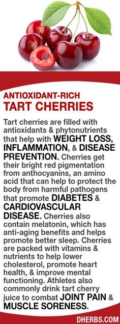 Tart cherries have antioxidants & phytonutrients that help with WEIGHT LOSS, INFLAMMATION, & DISEASE PREVENTION. Their red color is from anthocyanins, an amino acid that helps to protect the body from DIABETES & CARDIOVASCULAR DISEASE. Cherries also conta improve cholesterol