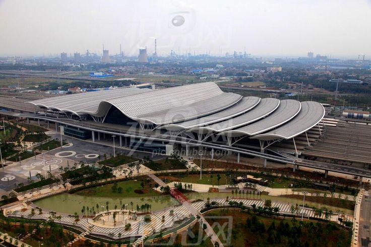 Wuhan railway station birdview