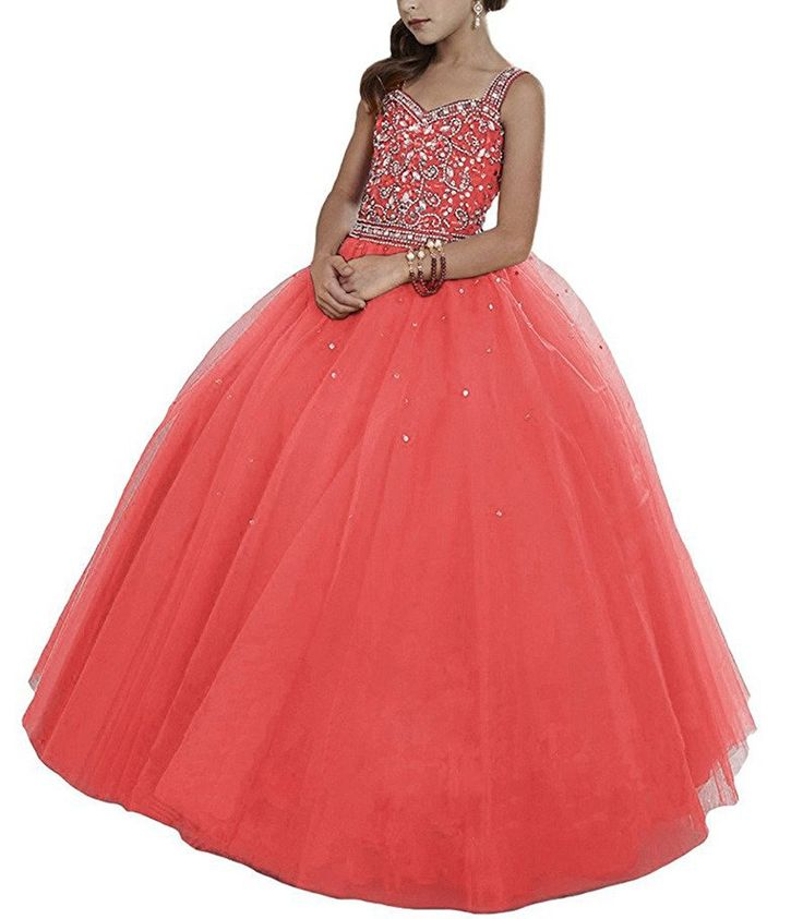 PuTao Big Crystal Straps Princess Floor Length Kids Party Pageant Dresses 16 US Coral. Before you place the order,please check the size chart on our website. Custom Made Service is available. Dry Clean Only. Expedited shipping is available. 7-days free return.