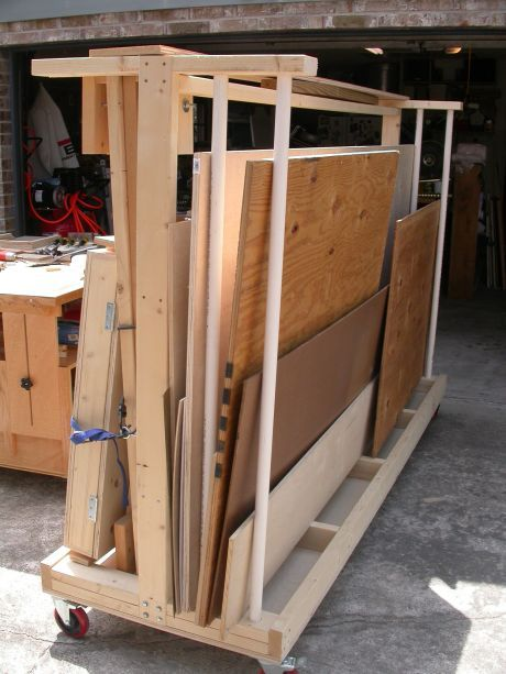 The sheet goods storage rack shop garage pinterest for Rolling lumber cart plans