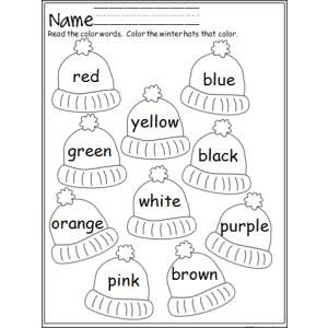 """""""Colorful Winter Hats"""" Color Review Worksheet (free; from Made by Teachers)"""