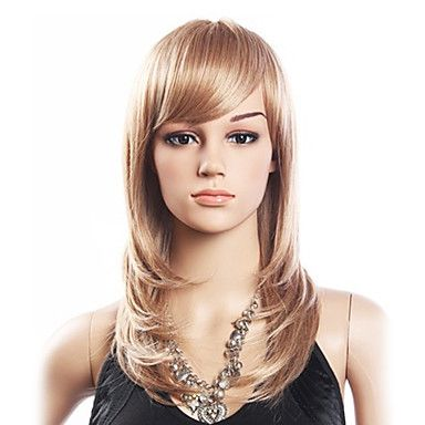 High Quality 20% Human Hair & 80% Heat-resistant Fiber Hair Capless Medium Curly Wig(Platinum Blonde) – USD $ 31.99