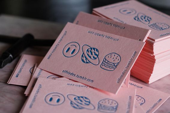 The letterpress business cards capture the style of Friedeberg's work