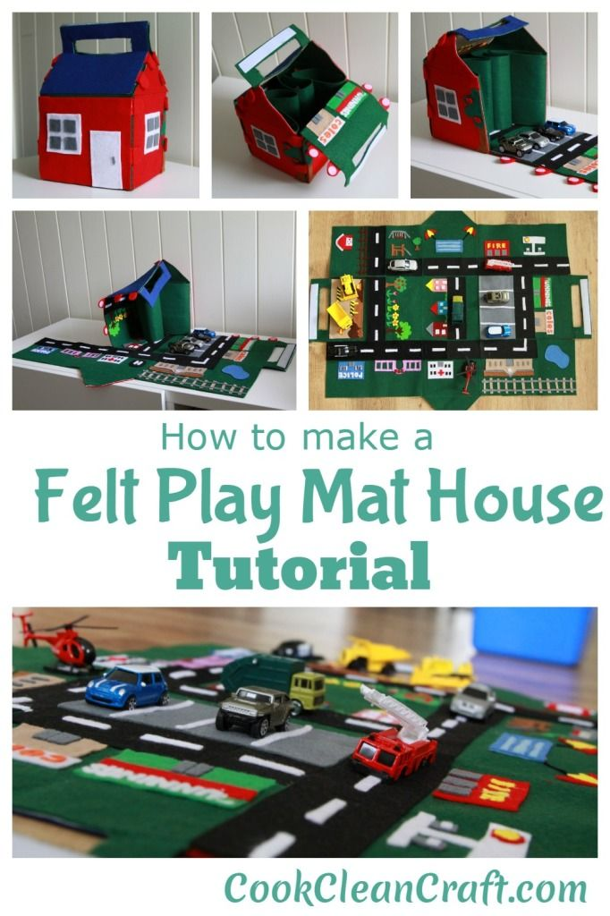 Felt Play Mat House Tutorial: car play may looks like a mini city and folds up into a house with a carrying handle. It even has enough room inside to carry the cars.