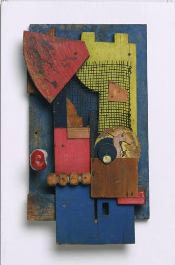 Kurt Schwitters, Merz Konstruktion, 1921, bois peint, papier, grille en métal, 36,8 x 21,6 cm, Philadelphie, Museum of Art