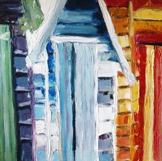 Beach Huts, oil with palet knife painting by Carmen Griffen #beachart