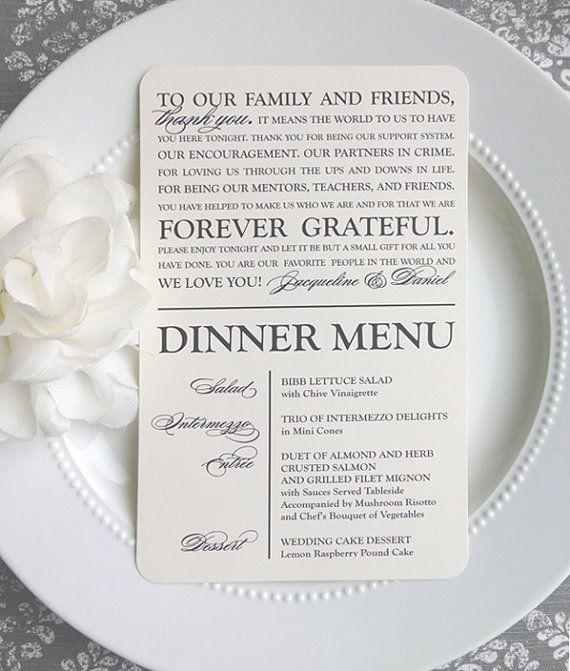 Printable Wedding Thank You Menu - Modern Classic Script - Style MTY2 - GRACEFUL…