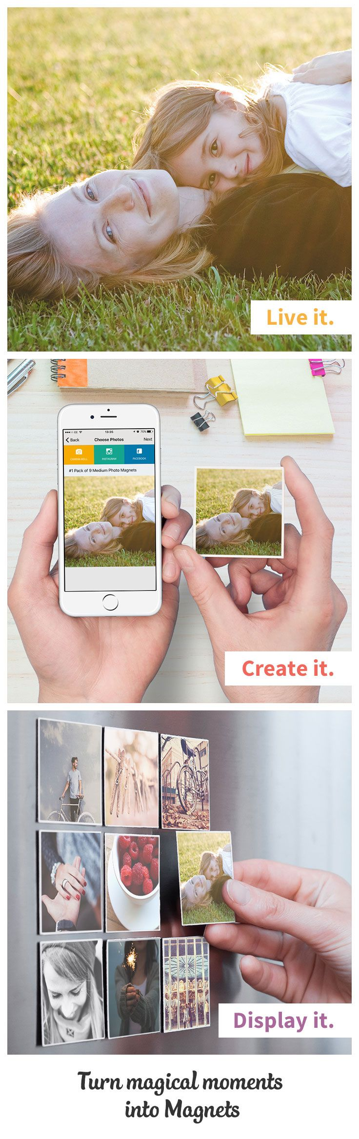 Do something different when decorating your home. Try turning your favourite photos into Magnets, Square Prints, or even a Poster. Filling your home with magical moments is easy with the Sticky9 App. Go on, try it and be creative. Who knows where your photos will end up. You'll also be able to enjoy 20% off + Free shipping on your first order.