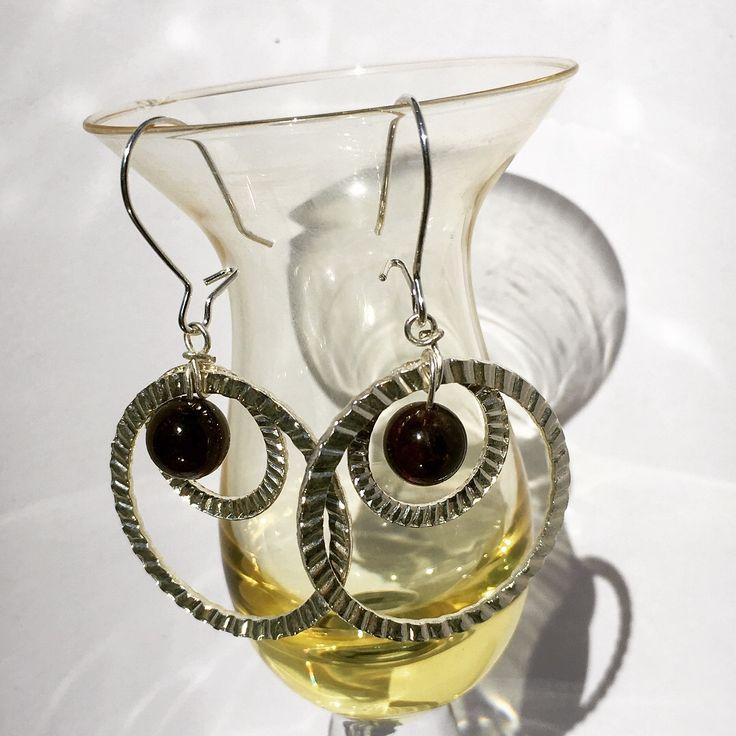 Garnet Double Circle Earrings from NyxStudioArt