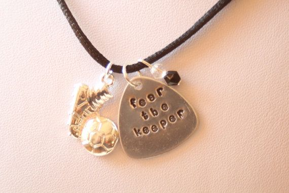 Hand Stamped Necklace  Soccer Goalie Necklace  by KTdidCollections, $22.00 #goalkeeper #handmadejewelry #soccerjewelry