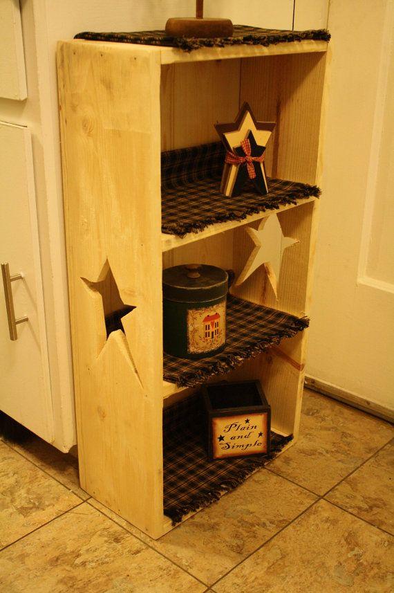 primitive bathroom shelves | Primitive STAR Sided Natural Wood Book Shelf Small Bookcase Bathroom ...
