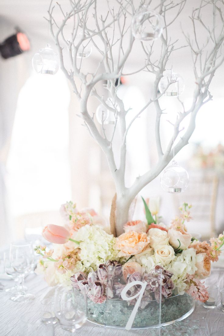 Centerpiece Inspiration: Our wedding packages include white trees as centerpiece options!