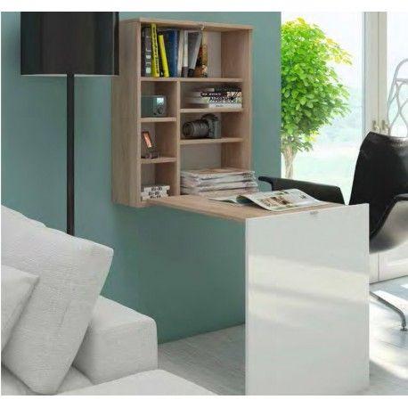 Mesa de Ordenador práctica y de dimensiones pequeñas.  Es un mueble colgado con varios estantes y se transforma enescritorio.  Disponible en varios colores.