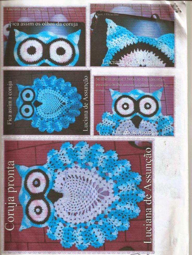 Artes da Abelha Rainha: Jogo de banheiro coruja de crochê