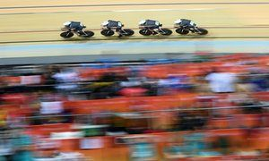 Britain's Ed Clancy, Steven Burke, Owain Doull and Sir Bradley Wiggins compete…