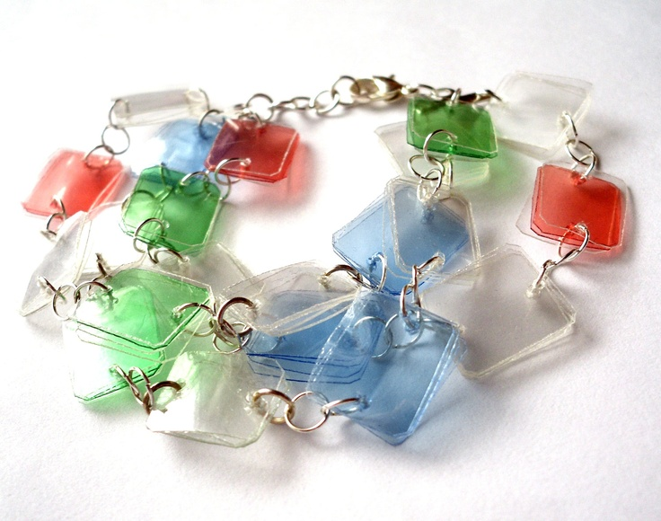 Colorful bracelet made of recycled plastic bottles upcycled jewelry, eco friendly, blue, green, white, red. $24.00, via Etsy.