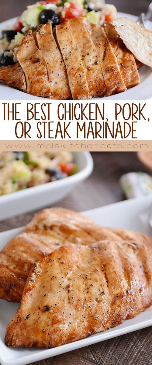 This all-purpose marinade is seriously the best meat marinade ever! It is perfect for chicken, beef or pork, and it only takes minutes to prep. Talk about a great recipe to have on hand for grilling season!