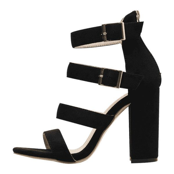 89c3f955460 Chunky Heel Strappy Sandals ($30) ❤ liked on Polyvore featuring ...