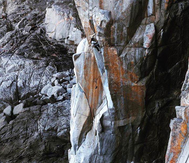 Spot the climber on the Wall! An unknown climber leads on cliffs at Freycinet. Image sent in by Mason Clay https://instagram.com/p/BacYtJil8Fe/