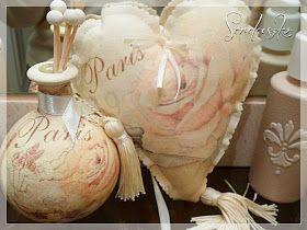 Różane serduszko z decoupage na materiale