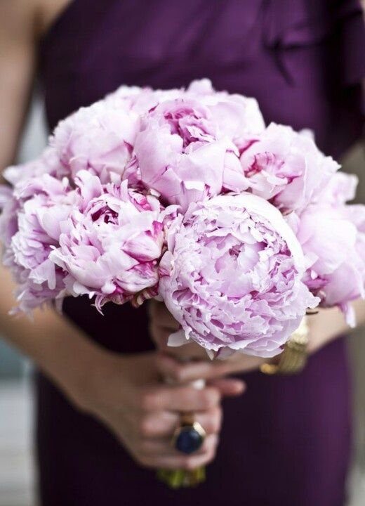 #purple bridesmaid dress + purple peony #bouquets